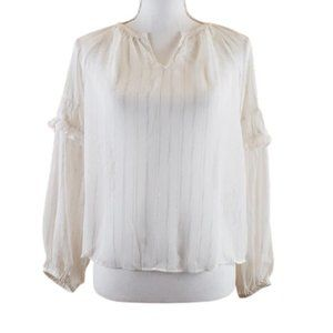 A NEW DAY Blouse White & Gold Metallic Size Small